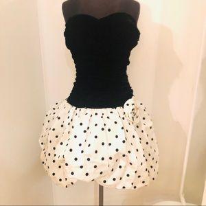 Vintage 1980s prom dress velvet poof polka dot